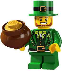 Lego minifig series 6 Irish LEPRECHAUN with green costume and gold