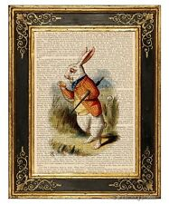 Alice in Wonderland Art Print on Antique Book Page White Rabbit in Hurry Color