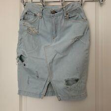 Rag   Bone Denim distressed skirt size 26 light wash mid length 7ed36ff0850