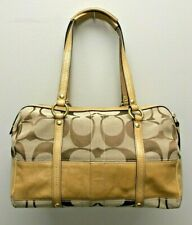 Coach E0826-12430 Signature Jacquard Brown Canvas & Tan Leather Stripe Handbag