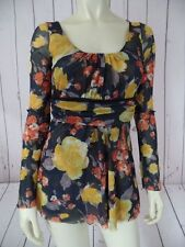 DAISY & CLOVER Top M Double Nylon Pullover Blouse Brown Gold Orange Babydoll HOT