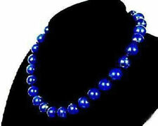 Beads Necklace 18'' Aaa Stunning!10mm Blue Lapis Lazuli Gemstone