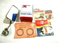 Vintage Bicycle Parts Lot Down Tube Clip/Bearings/Tube/Brake Calipers/Mirror NOS
