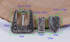 21mm Bling Silver Western Flower Engraved Rope Edge Cowboy 3 piece Belt Buckle