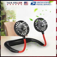 Portable USB Rechargeable Neckband Sport Lazy Neck Hanging Cooling Fan & Battery