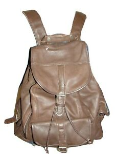 Brown Leather Drawstring Flap Slide Clasp Lined Backpack w/Multiple Pockets