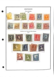 [OP8487] Montenegro lot of stamps on 12 pages