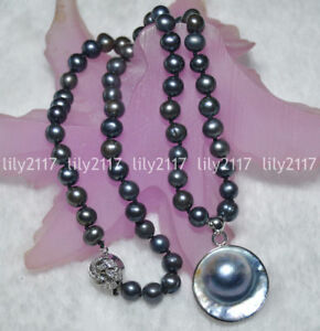 24'' Beauty Natural 7-7.5mm South Sea Black Pearl 25mm Pendant Necklace Strand