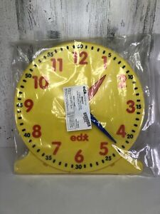 """edx education Yellow (12 Hour) 12""""Clock Face.Educational,Homeschooling (Ages-5+)"""