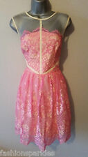 BNWT New LIPSY VIP Pink Cream Lace Fit Flare Empire Skater Prom Dress 16 £110