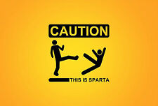 A4 Poster - Caution This is Sparta in Yellow (Picture Print Funny 300 Movie Art)