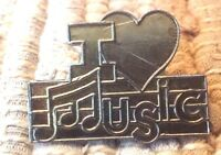 I Love Music note heart lapel pin pre-owned