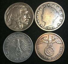 Antique V & Buffalo Nickel & Rare Ww2 German Coins - Historical Artifacts