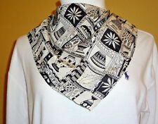 VTG From 80's Casca 100% Silk Square Grey/Black Pottery Print Women's Scarf