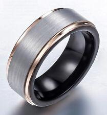 Tungsten Carbide Men's Gold Plated Edge Silver Brush Wedding Band Ring SR142