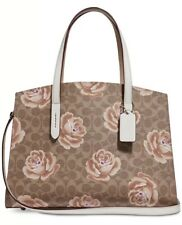 NWT COACH 31667 COATED CANVAS SIGNATURE ROSE PRINT CHARLIE CARRYALL $395.00
