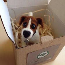 Soft Dog Sculpture Needle Felted Jack Russell Dog Miniature Merino Wool Toys