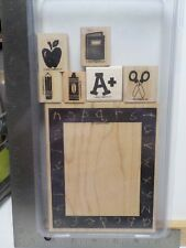 STAMPIN UP ELEMENTARY DAYS SCHOOL FRAME RUBBER STAMPS SET 7 WOOD EUC A14718