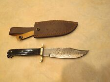 Large Damascus Bowie knife w black bone handles & leather sheath