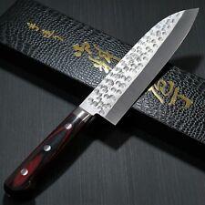 Japanese KANEHIRO HSS SG2 Hammered Santoku Kitchen Knife 175mm Red Handle Japan