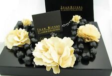 "NEW Joan Rivers Pretty Petals Flower & Beads 16"" Necklace w/ 3"" Extender NIB"