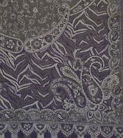 """Purple Wool Silk Blend Jamavar Shawl Shades of Gold Lilac & Amethyst 72""""x27"""""""