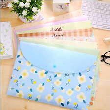 A4 Paper Bags Fresh Floral Transparent File Folders Kits Office School Supplies