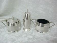Art Deco 3 piece cruet set Hallmark dated 1934 Sterling silver Birmingham