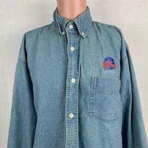 Planet Hollywood Las Vegas Denim Button Down Shirt Vtg 90s Embroidered 1991 XL