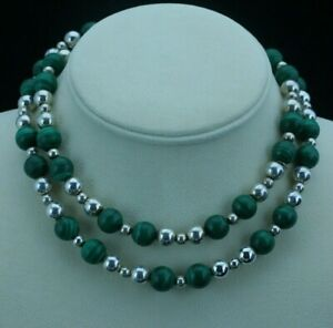 Tiffany & Co. Malachite Sterling Silver Bead Necklace 30in.