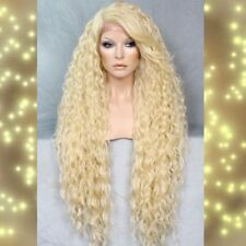 Human Hair Blend Full Lace Front Wig Long Pale Blonde Water Wavy Heat OK 613