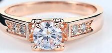 Plated Sterling Silver Size 8 Cubic Zirconia Ring 18K Rose Gold