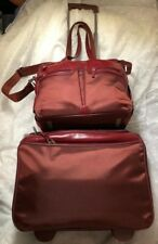 PIQUADRO 2pc Travel Red Laptop Shoulder Bag Briefcase w/ Wheeled Carry-on Unisex