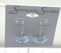 Vintage Sterling Earings Art Glass Aqua to Copper Large Saucer Pierced Drop