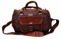"13"" Women's Vintage Small GVB Real Leather Duffel Luggage Overnight Weekend Bag"