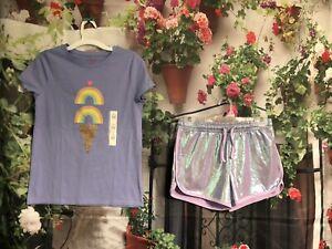 NWT Girls More Than Magic Purple Shorts SZ L 10/12 Cat & Jack Shirt  2pc Outfit