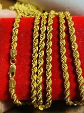 "21K Saudi 875 Gold Fine Mens Women's Rope Necklace With 22"" Long Chain 4mm 11.6g"