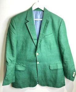 Harvie & Hudson green woven herringbone 100% linen blazer jacket 44 L VGC class