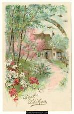 Embossed cottage garden scene