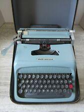 Old Vintage Olivetti Underwood Studio 44 Light Blue Typewriter with Case
