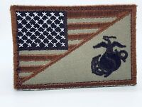 United States Marine Corps USMC & American Flag Patch (Coyote)