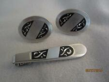 MENS ANSON PAT PEND OXIDIZED & BRUSHED STERLING CUFFLINKS & TIE CLIP - 38 GRAMS