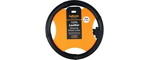 Halfords Black 100% leather steering wheel covernew