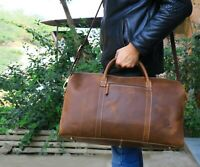 Leather Travel Duffle Bag Mens Overnight Weekend Luggage Handbag Flight Aircabin