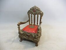 Antique chair jewelry holder display brass/seat cover is dead weight