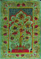 GREEN TREE OF LIFE TEMPLE bedspread BED SOFA THROW COVER WALL HANGING boho.....