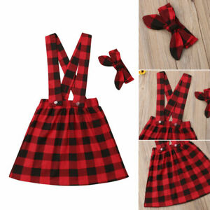 US Christmas Toddler Baby Girl Plaid Overalls fashion Dress+Headband Outfits Set