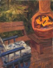 Fire Night wine time patio bonfire.oil painting by Margaret Aycock Oklahoma