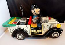 Vintage Tin Battery-Operated Police No. 5 Police Car, Nomura Toys (T.N) Japan