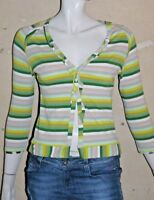 ONE STEP AMBIANCE Taille 38 Superbe gilet fin cardigan rayures vert beige coton